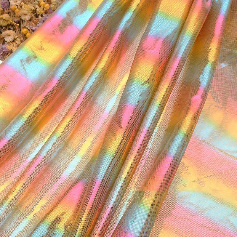 100*150CM Rainbow Stripe Bronzing Cloth Gradient Silky Knitted Fabric Shining For Wedding Background Decoration Handicrafts DIY Clothing Tablecloth Decoration Supplies