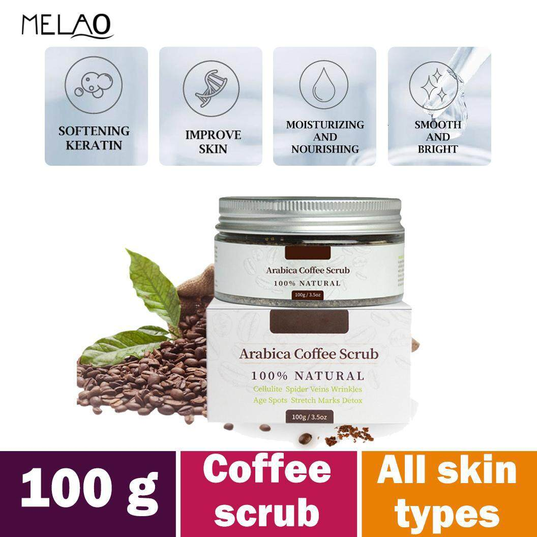 MELAO Organic Coffee Body Scrub Tightens, Tones, Reduces Cellulite 100% Natural 100g