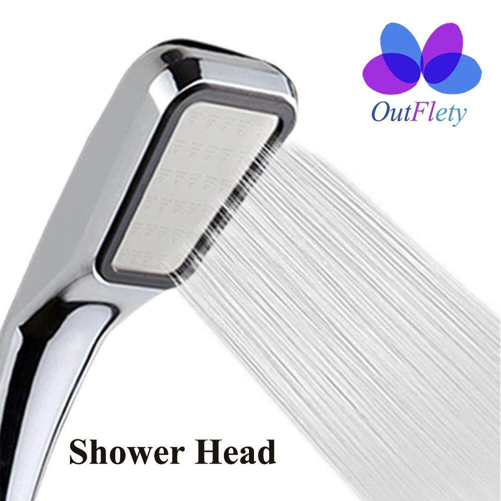 OutFlety High Pressure Shower Head, 300 Holes Water Saving Flow G1/2 Interface Square Bathroom Sprayer Shower Head with Chrome ASB Heat Insulation Handle