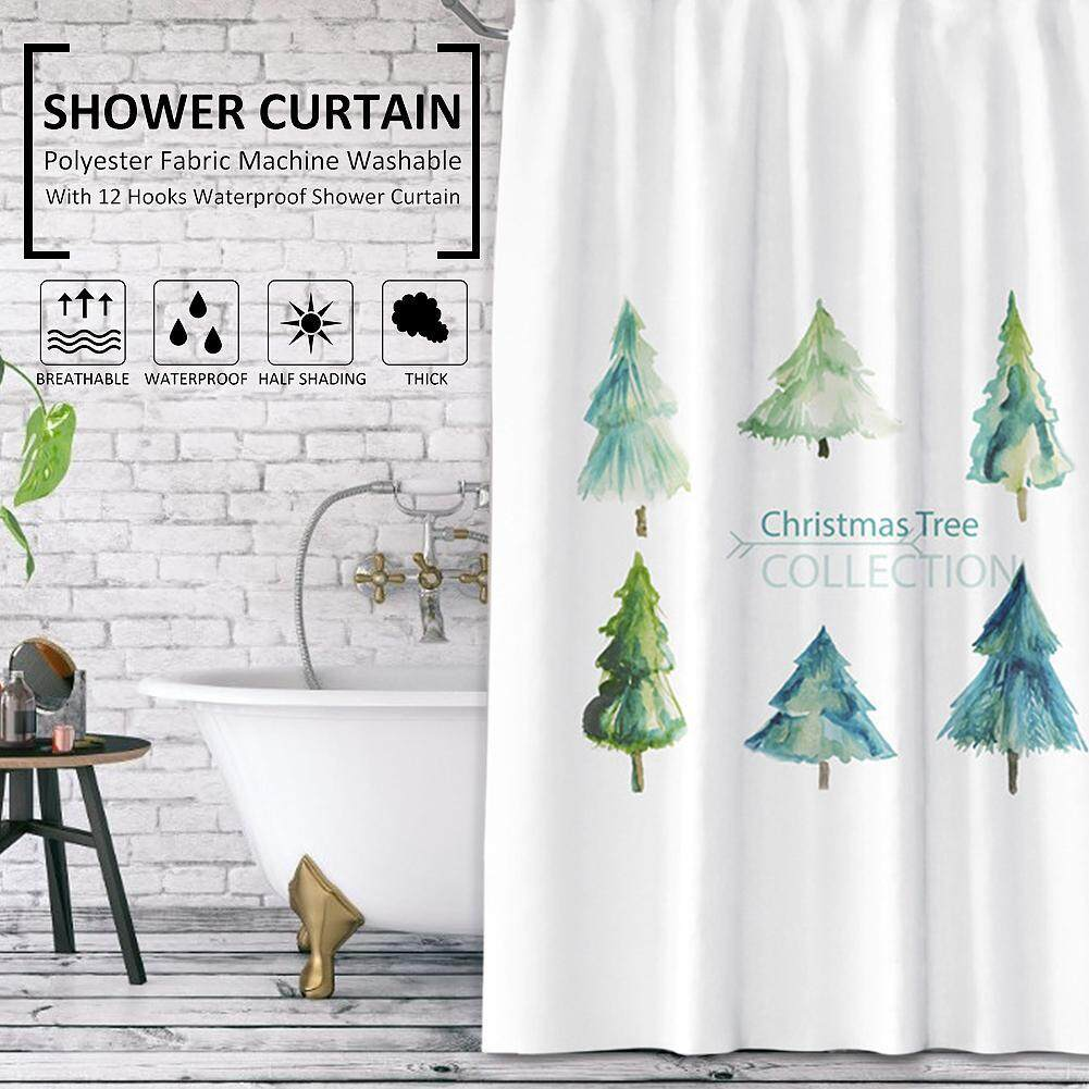 180-180cm Shower Curtain Polyester Fabric Water Repellent Plant Curtains Machine Washable with 12 Hooks Bathroom Accessories