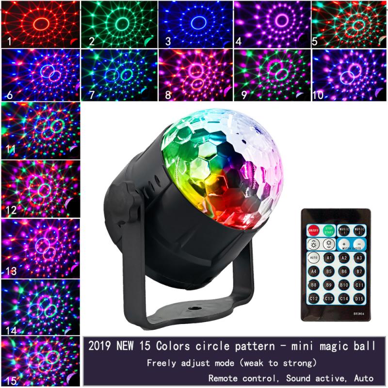 Điều Khiển Từ Xa 15 Màu LED Pha Lê Nhỏ Ma Thuật Bóng Đèn Mini Đèn Sân Khấu Laser DJ Ánh Sáng Giáng Sinh Đèn Chiếu