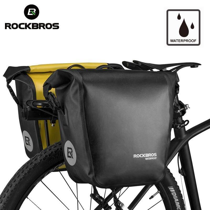 RockBros Waterproof Pannier Bag Bicycle Rear Bag Rack Bag Upgrade Black Gold 27L