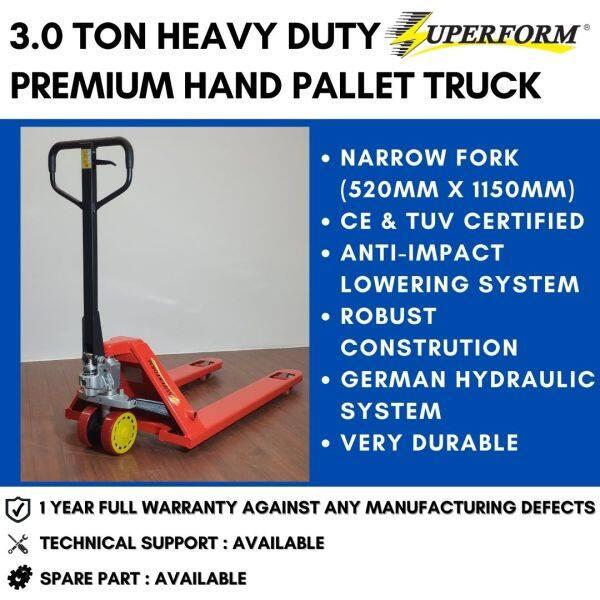 SUPERFORM 3.0 Ton Hand Pallet Truck Narrow Fork (520mm x 1150mm) Manual Pallet Jack Hand Jack   1 Year FULL Warranty