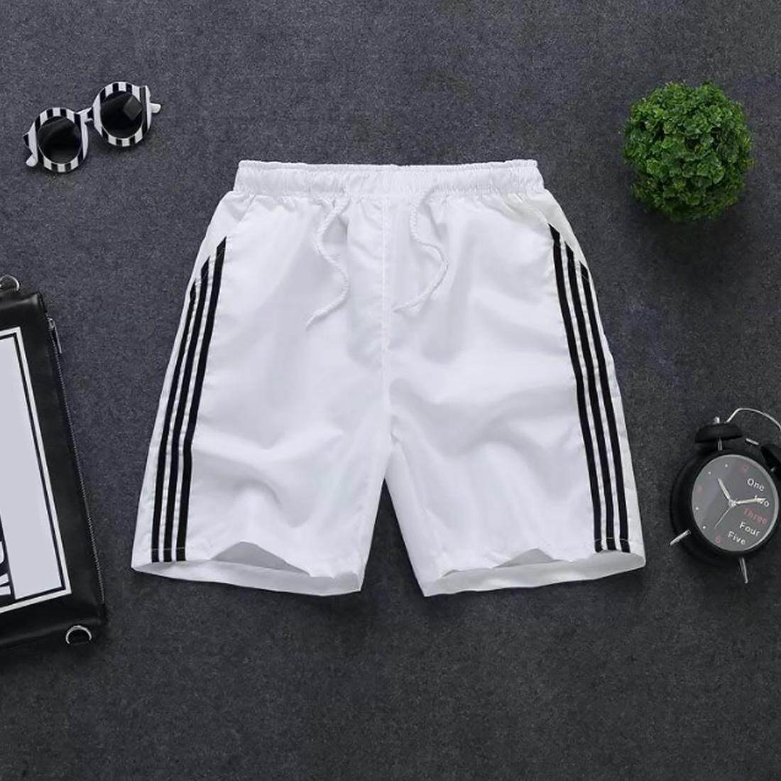 Men Elastic Waist Sports Quick Dry Summer Polyester Casual Stripe Beach Shorts By Moonarstore.