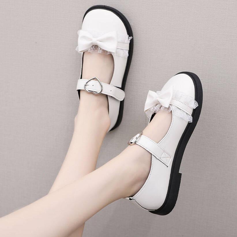 GG Thời Trang Famliy Nhật Bản Nhỏ Giày Da Nữ Mùa Hè Hàn Quốc Bằng Giản Đại Học Phong Cách Retro Sinh Viên Đầu To Mary Jane giày giá rẻ