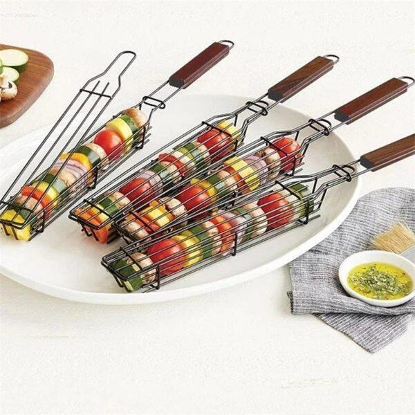 Portable BBQ Grilling Basket Stainless Steel Nonstick Barbecue Grill Basket Tools Grill Mesh for meat Hamburger BBQ tools