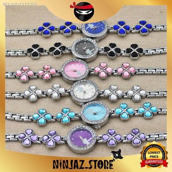 [🔥Malaysia 6Months Warranty🔥] Korean Moonlight Women Four Leaf Stainless Steel Bracelet Lucky Bracelet Wanita Jam Tangan Malaysia