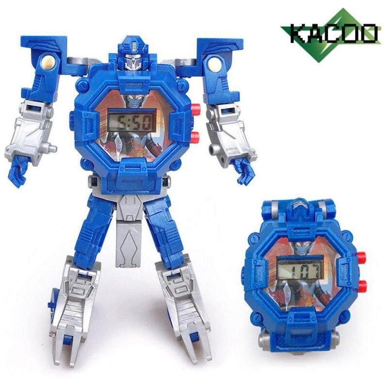 Robot Watch ,KACOO  Kids Transforming Toys Watch Digital Electric Watch Creative Educaional Toys Manual Deformation Robot Gift for Children Malaysia