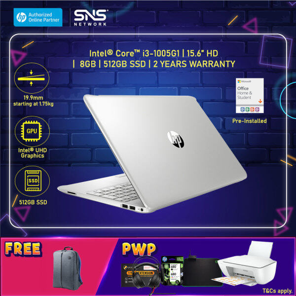 NEW HP Laptop 15s-du2131TU 15.6 HD (i3-1005G1, 512GB SSD, 8GB, Intel UHD Graphics, W10H) - Silver [FREE] HP Backpack + Pre-Installed with Microsoft Office Home and Student Malaysia