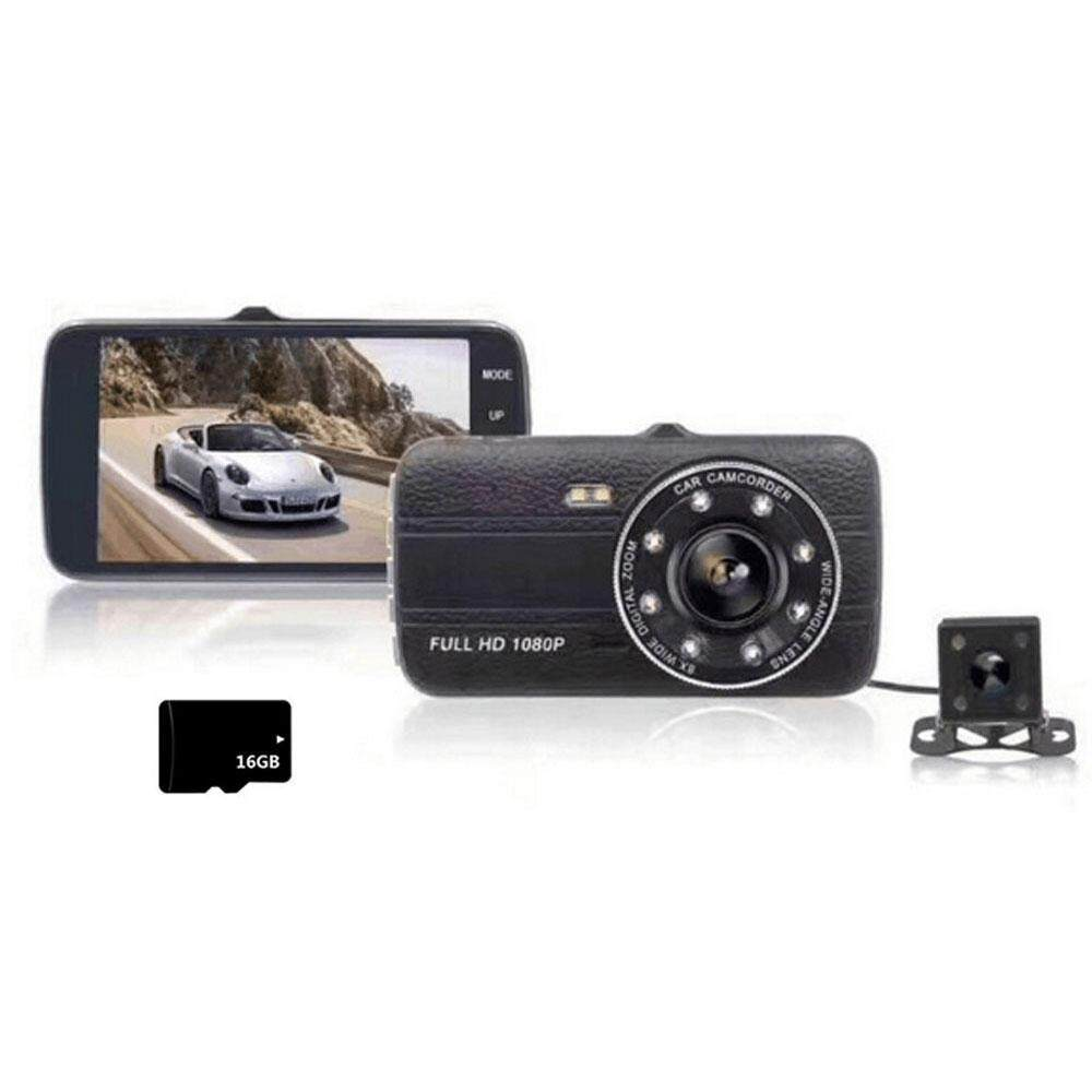NiceToEmpty Dash Cams For Cars Front and Rear with Night Vision, Car Camera with 8 Led Lights, 1080P Full HD Dual Lens, 4 Inches Large IPS Screen, 170 wide angle, Loop Recording