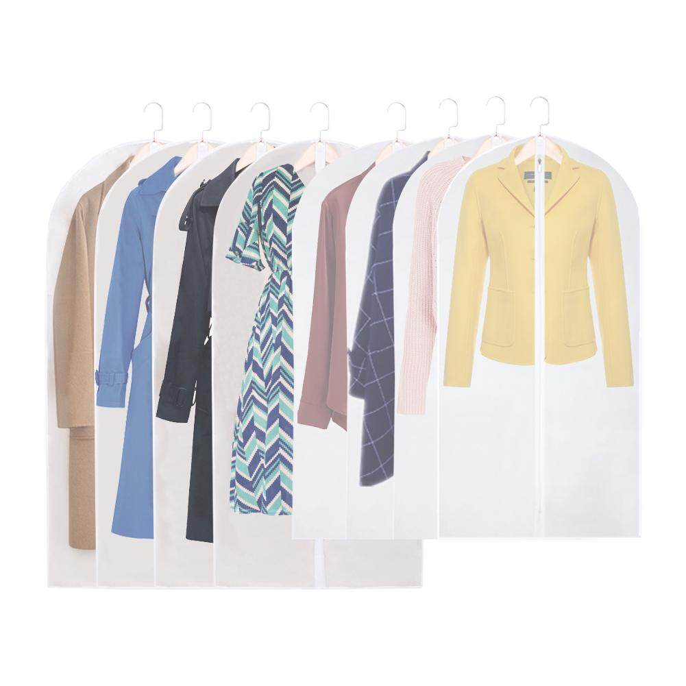8pcs Closet Hanging Lightweight With Zipper Storage Dust Proof Breathable Clothing Cover