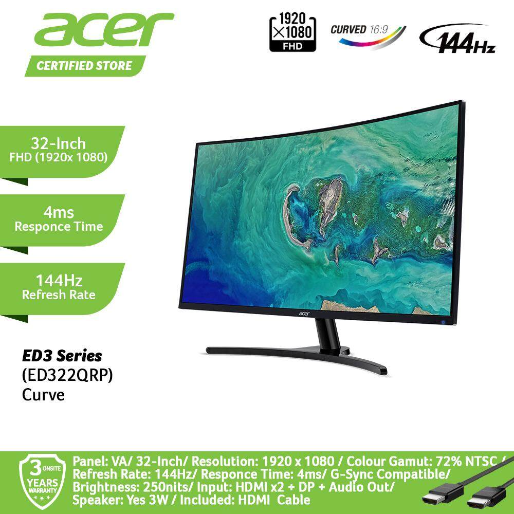 Acer 32-Inch ED322QRP Curve Freesync Gaming Series For Immersive Gaming Monitor UM.JE2SM.P01 Malaysia