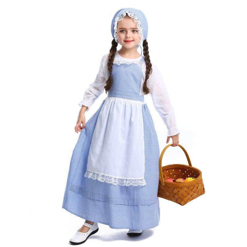 2019 New Arrived Girls Farm Pastoral Style Costume Role Play Career Cosplay Halloween Or Play Time Fancy Party Dress