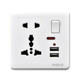 Ổ Cắm Trên Tường Thông Dụng Cổng Sạc USB Kép Với Ổ Cắm Công Tắc 1 Gang 5 Lỗ Màu Vàng Kim thumbnail