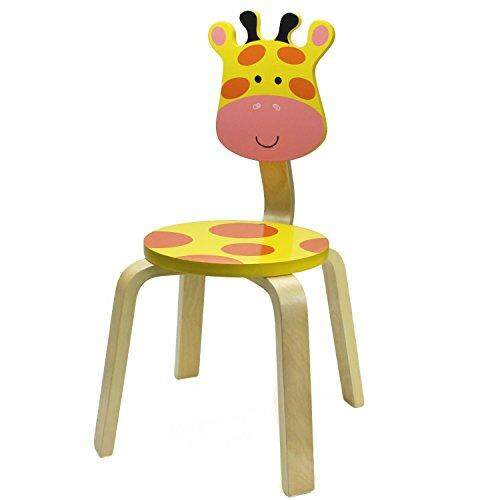 iPlay, iLearn 10 Inch Kids Solid Hard Wood Animal Chair, Stackable Wooden Finished, Preschool, Daycare, Bedroom, Playroom, Nursery Seat, Giraffe Furniture Stool for Toddlers, Children, Boys, Girls