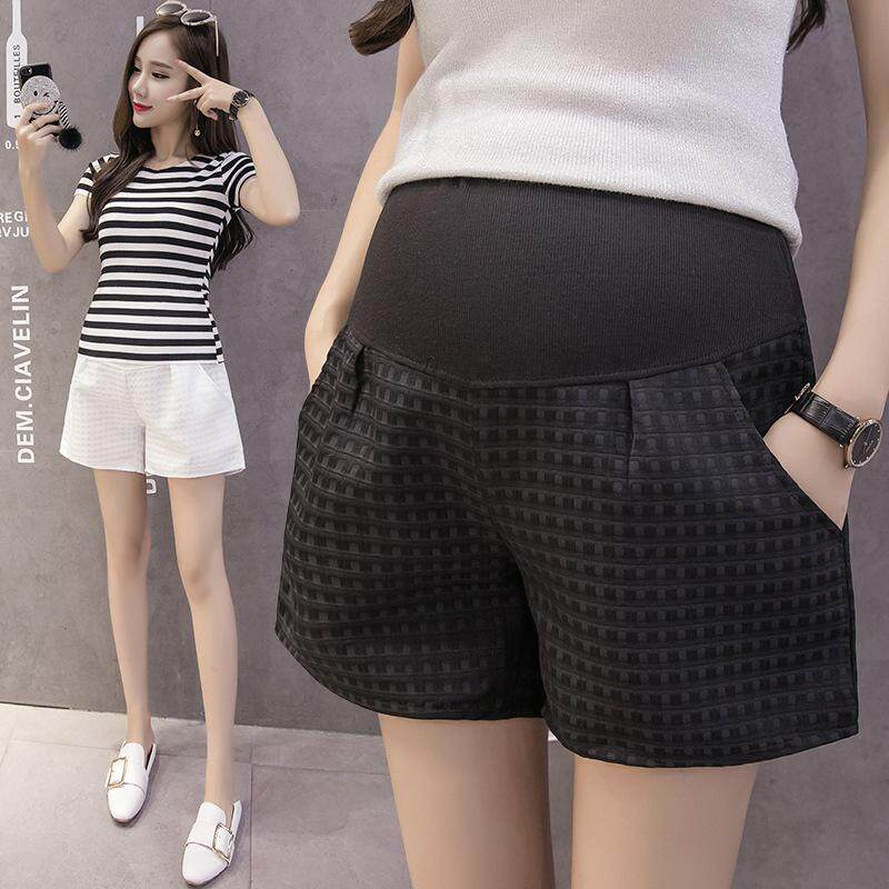 432ad4d65960e Pregnant women's stomach lift pants plaid maternity wear wide leg shorts