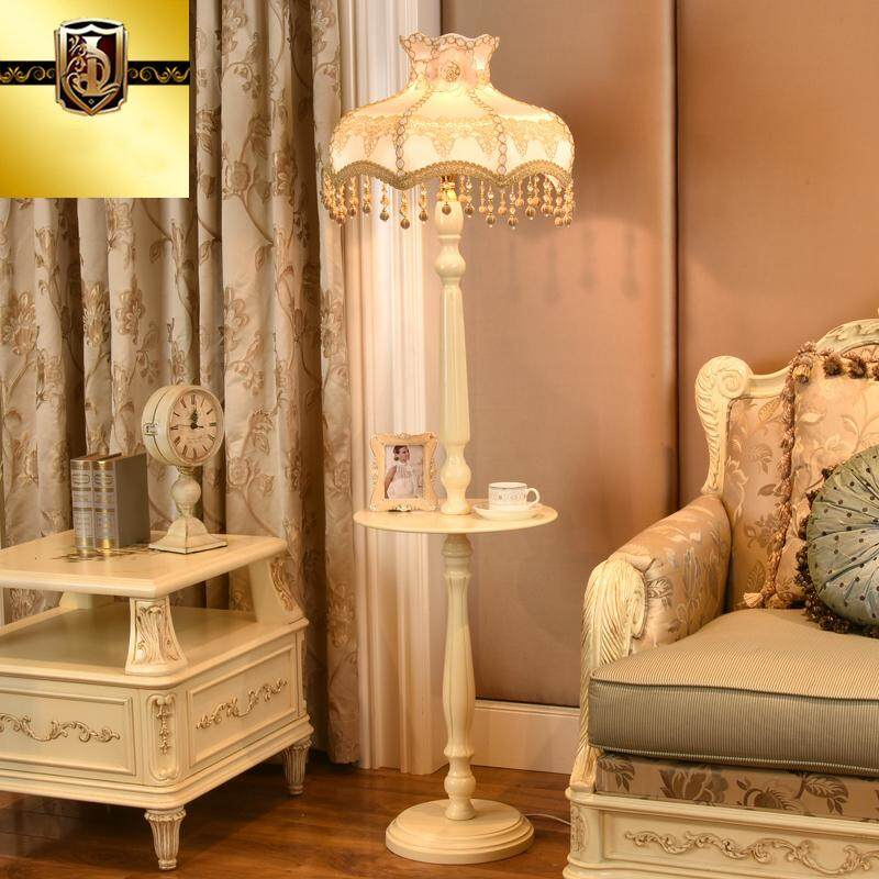 European Luxury Floor Lamp with Coffee Table.Wooden Lamp Body + Handmade Fabric Lampshade.Living Room Bedroom Study Floor Stand Lamp Lighting Decoration.110V-240V-E27-LED.