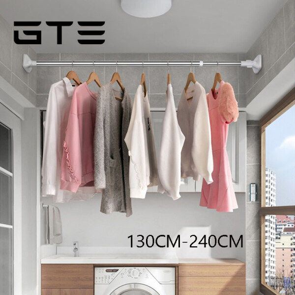 GTE 130-240cm Telescopic Shower Curtain Rod Stainless Steel Curtain Rail Rod Tirai Mandi - Fulfilled by GTE SHOP