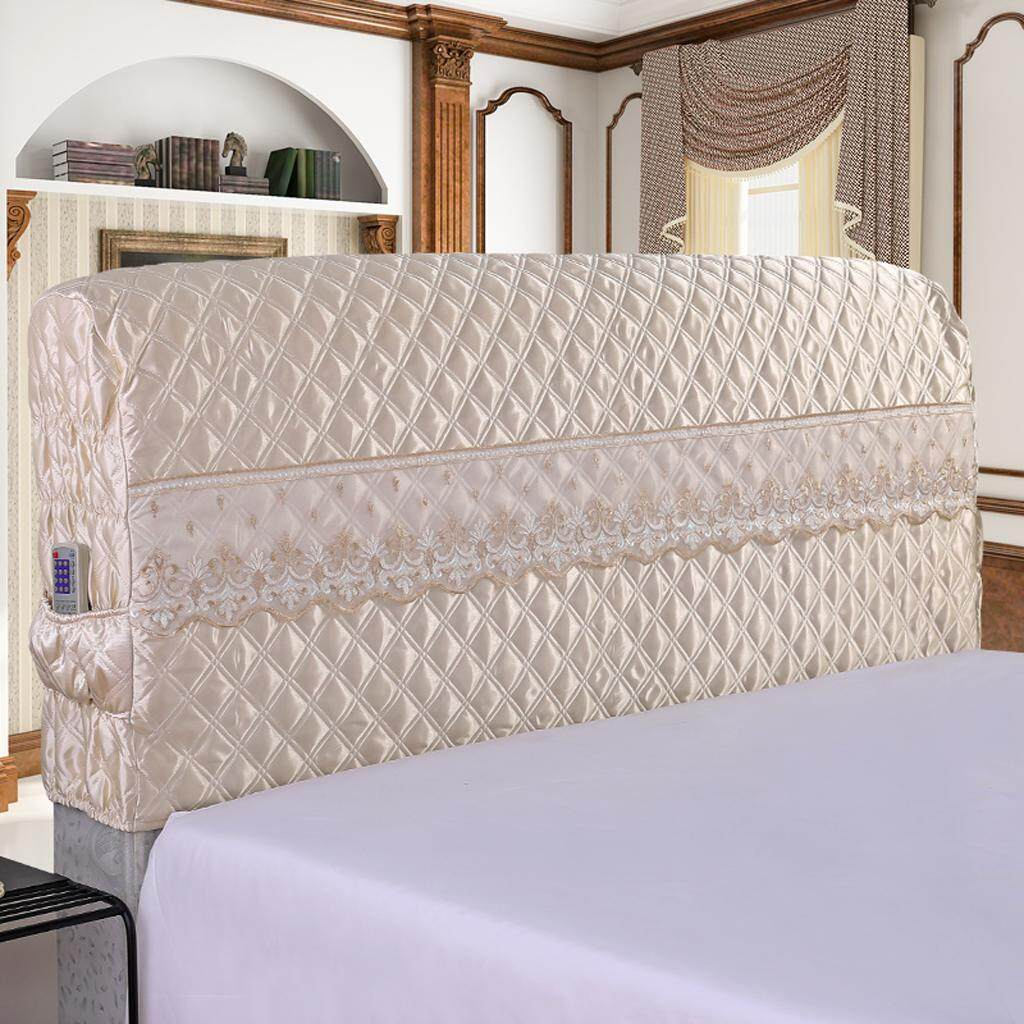Perfk Easy to Fit Bed Headboard Covers Fashionable Slipcovers Protectors Beige