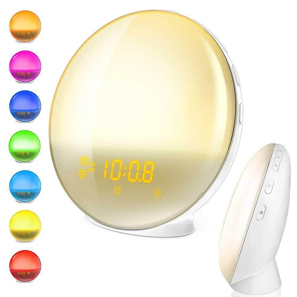 Umiwe 7 Colors Changing Sunrise Simulation Wake-up Light Alarm Clock FM Radio Clock with USB Port