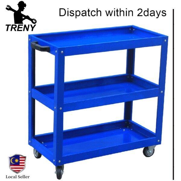 TRENY 3 Tier Service Cart Tools Trolley Factory Work Shop 3 Layer Trolley 120kg Kedai Kerja Kilang 3 Tingkat Troli Murah