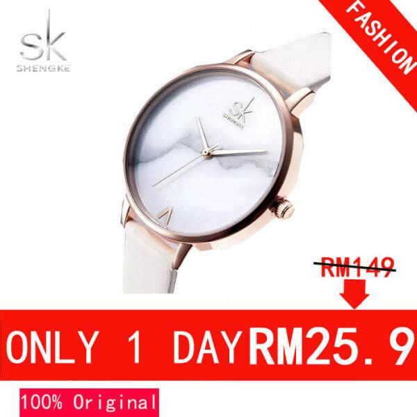 ShengKe Fashion Watch for Women Jam Tangan Wanita Waterproof Quartz Watches Marble Dial Simple Business Casual Wrist Watch with Box Malaysia