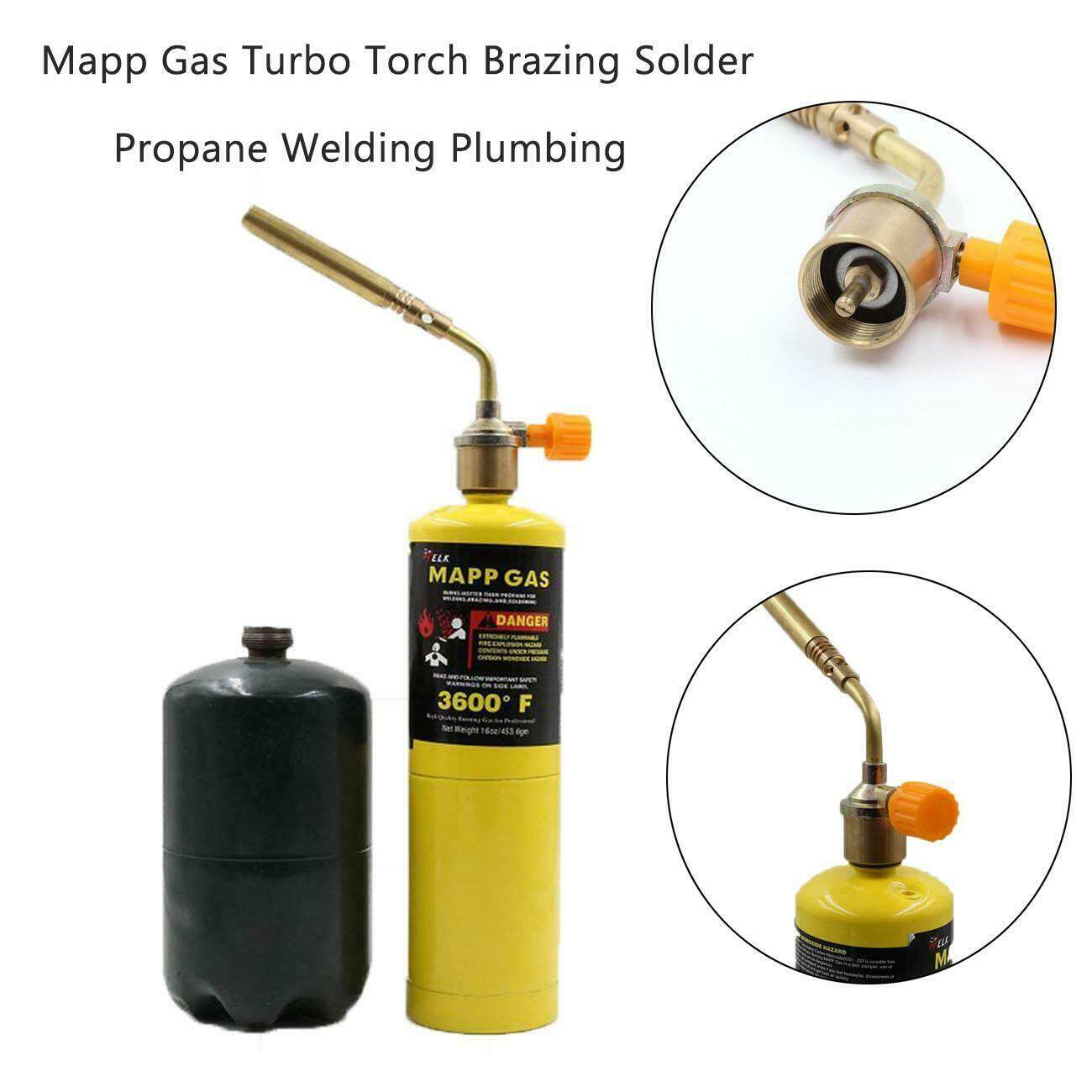Mapp Gas Turbo Torch Brazing Solder Propane Welding Plumbing Heavy Duty Gas Weld