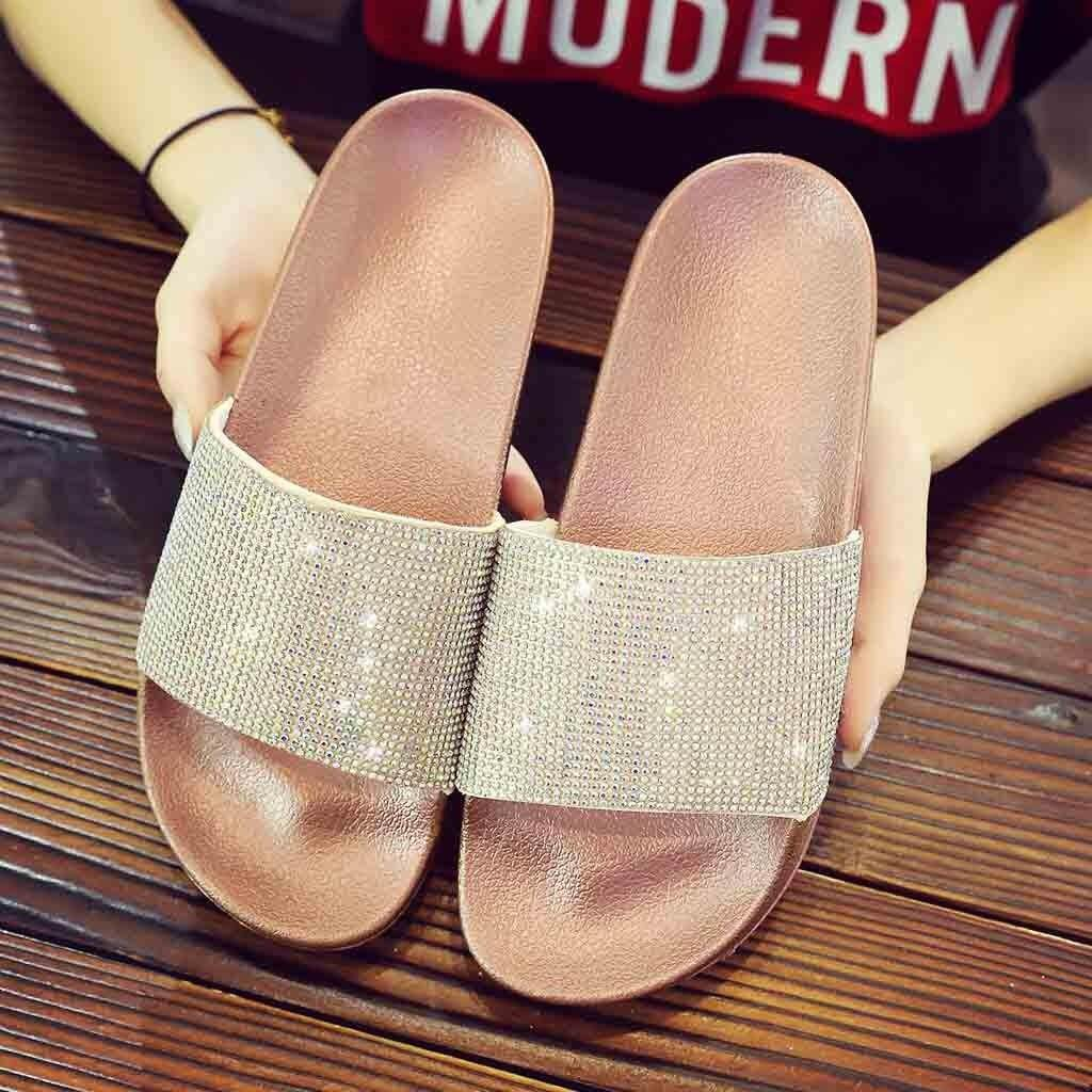 39d3c980026a Aynshop Womens Flat Slides Sandals Diamante Sparkly Sliders Colorful  Diamond Slippers