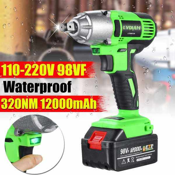 Estore 98VF 320N.m 1/2 Electric Cordless Brushless Drill Impact Wrench Torque Tool Lock LED