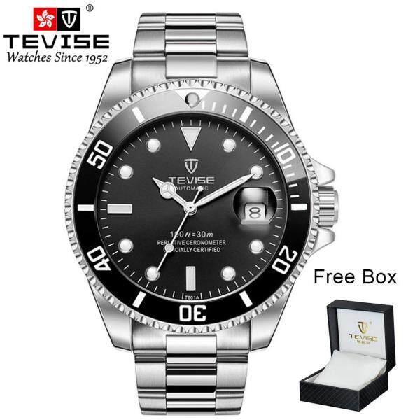 [RAYA SALE] TEVISE T801 Green Water Ghost Quartz Watch Men Business Watch Watch Fashion Luxury Spiral Crown Watch Waterproof Wristwatch With Original Box Malaysia