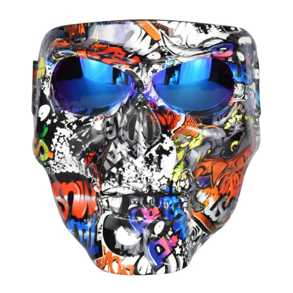 Homyl Motorbike Motorcycle Riding Skull Face Mask with Goggles Glasses for Motocross Cycling Open Face Helmet Black+Blue