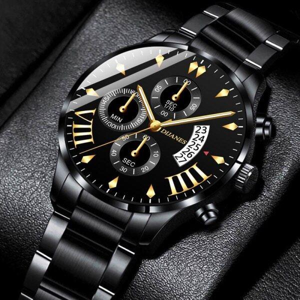 POSHI Top Luxury Mens Brand Watches Fashion Business Stainless Steel Quartz Wristwatch Calendar Man Waterproof Military Chronograph Watch Malaysia