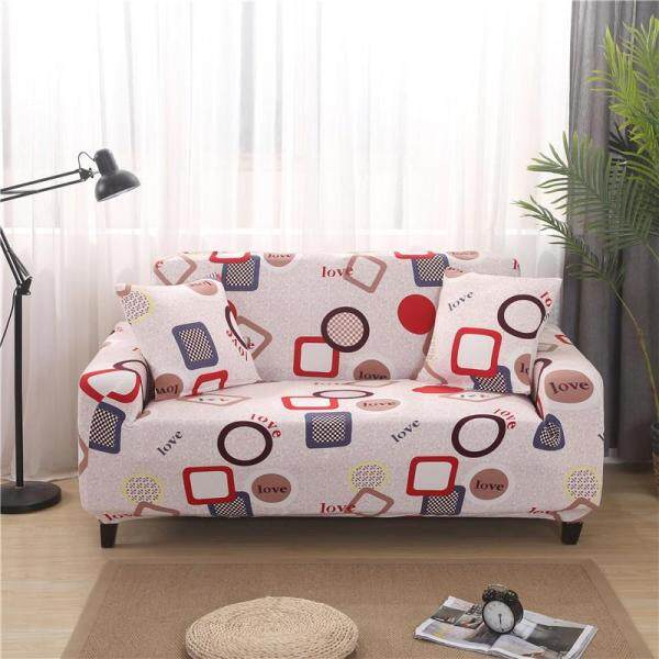 Print Full Cover Elastic Sofa Cover 1/2/3/4 Seat Universal L-shaped Non-slip Slipcover Home Decoration One Sofa Cover One Free Pillow Case