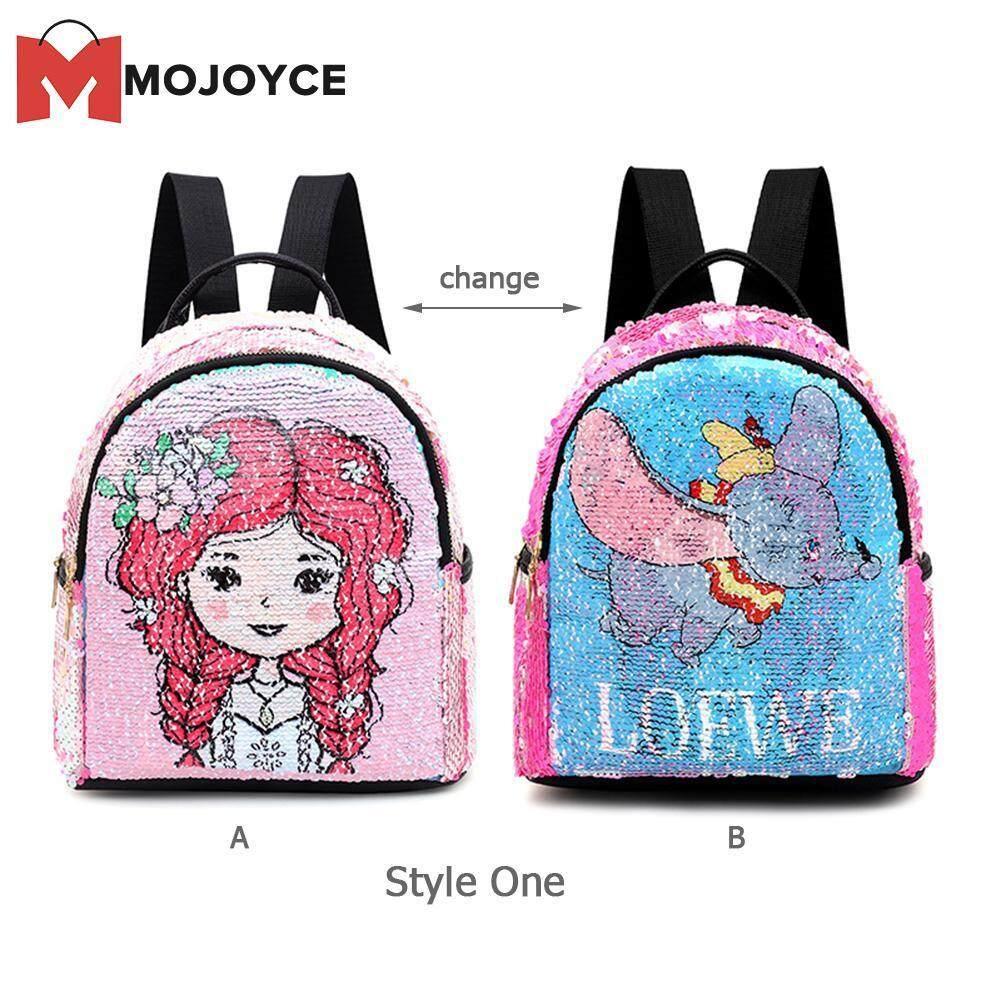 MOJOYCE Women Children Girl Parent-Child Bag Sequins Cartoon Print Backpack