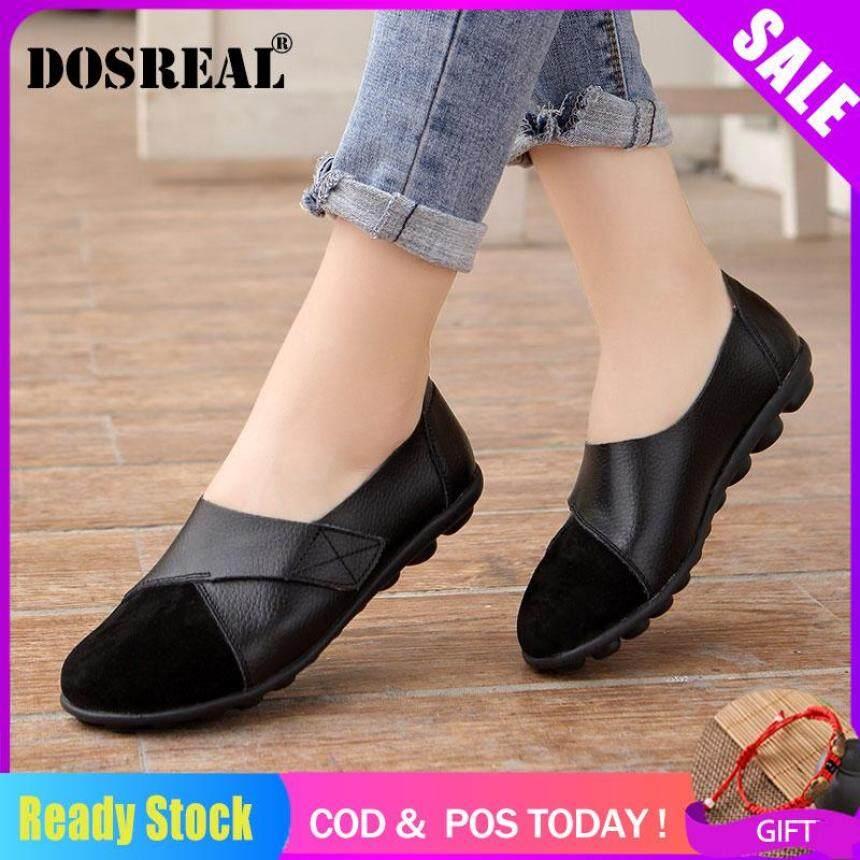 DOSREAL Flat Cho Nữ Da Thật Chính Hãng Da Đế Bằng Thuyền Hàn Quốc Giày Loafer Nữ Lười SALE Size Lớn 35 -44 giá rẻ