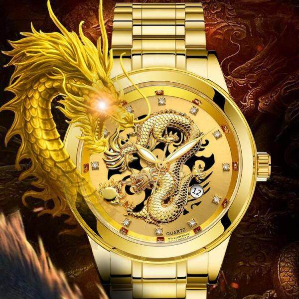 Fashion Men Watch 3D Gold Dragon Quartz Watches Luxury Stainless Steel Shockresistance Casual Waterproof Wristwatches Male Clock Gifts Malaysia