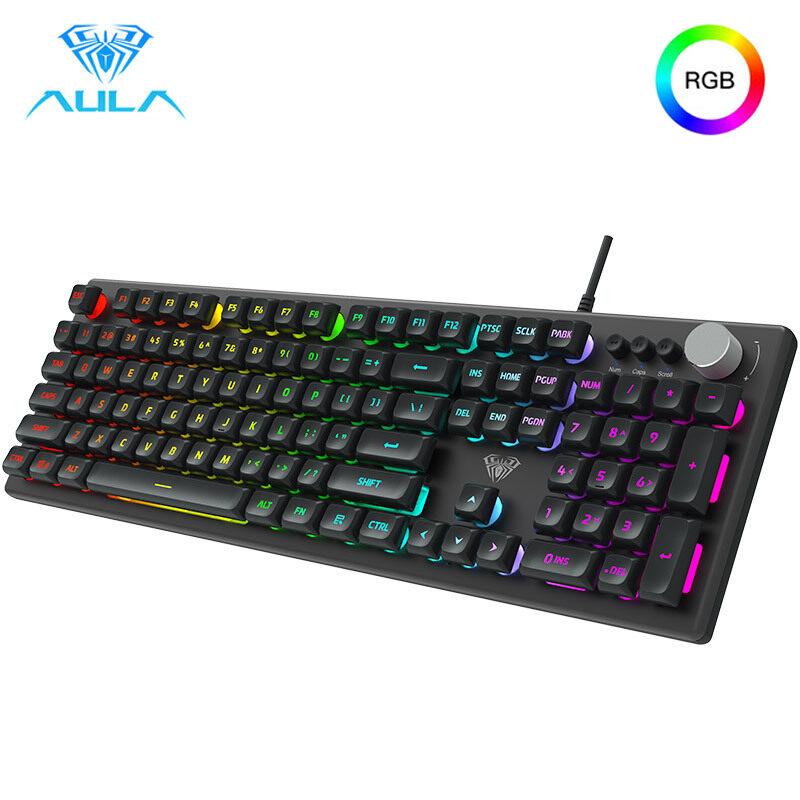 AULA F2028 Gaming Keyboard RGB 108 Key Mechanical Feel Wired USB Keyboard ABS Floating Keycaps Desktop Computer Gaming Dedicated Singapore