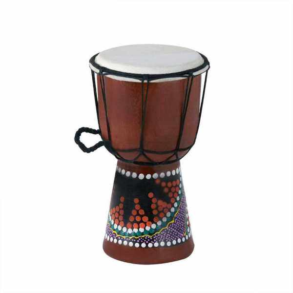 4 Inch Compact Size Wooden African Drum Djembe Bongo Hand Drum Percussion Musical Instrument with Colorful Pattern (Patterns Random Delivery) () Malaysia