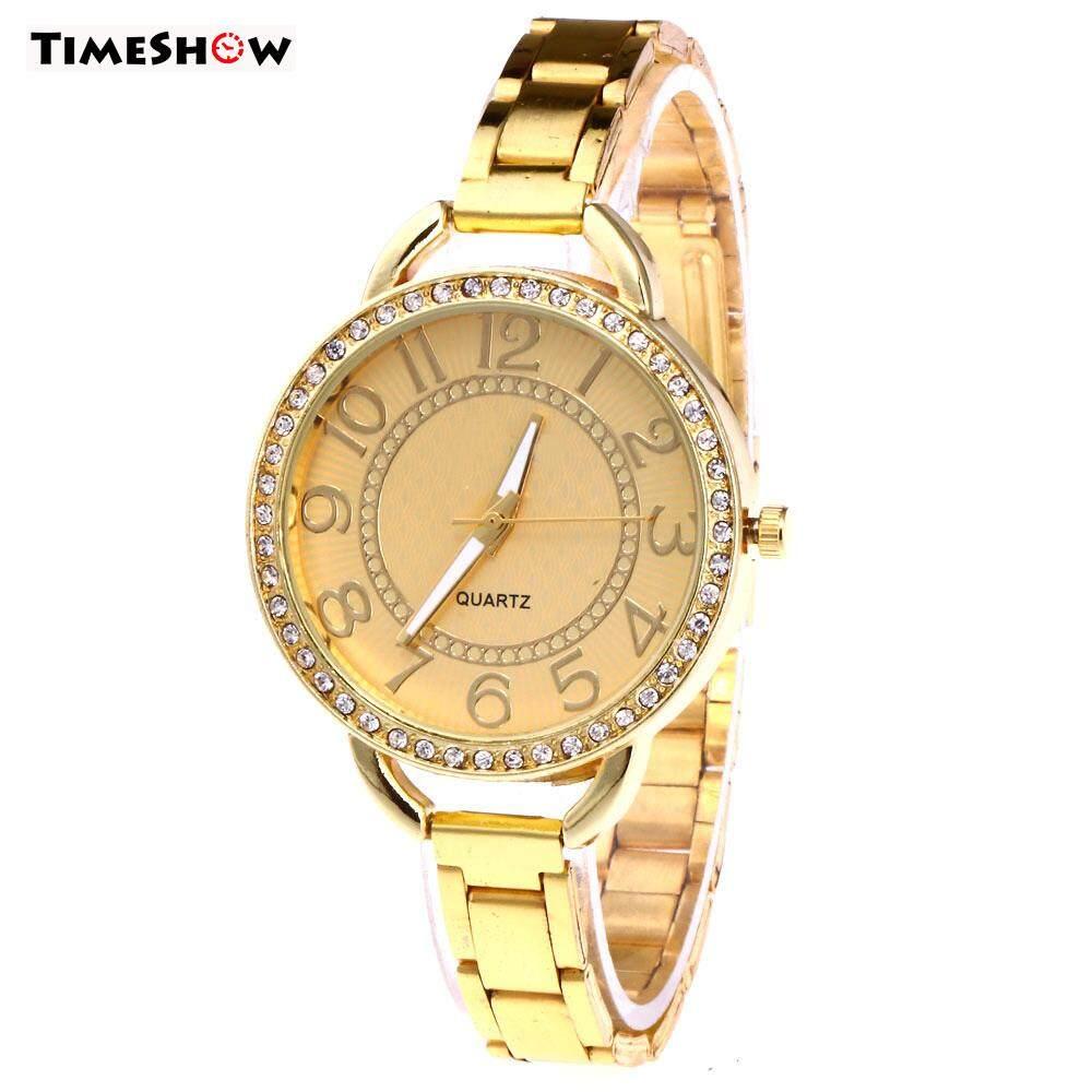 TimeShow Fashion Women Crystal Digital Quartz Watch Casual Stainless Steel Band Wristwatch Gifts Malaysia