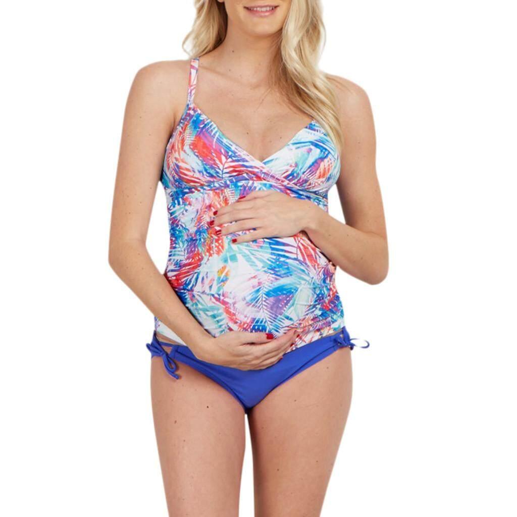 c407dd1a5ec9f Ajusen Summer Bikini for Pregnant Women Maternity Tube Top print Bikini Set Swimwear  Pregnancy Swimsuit Bathing