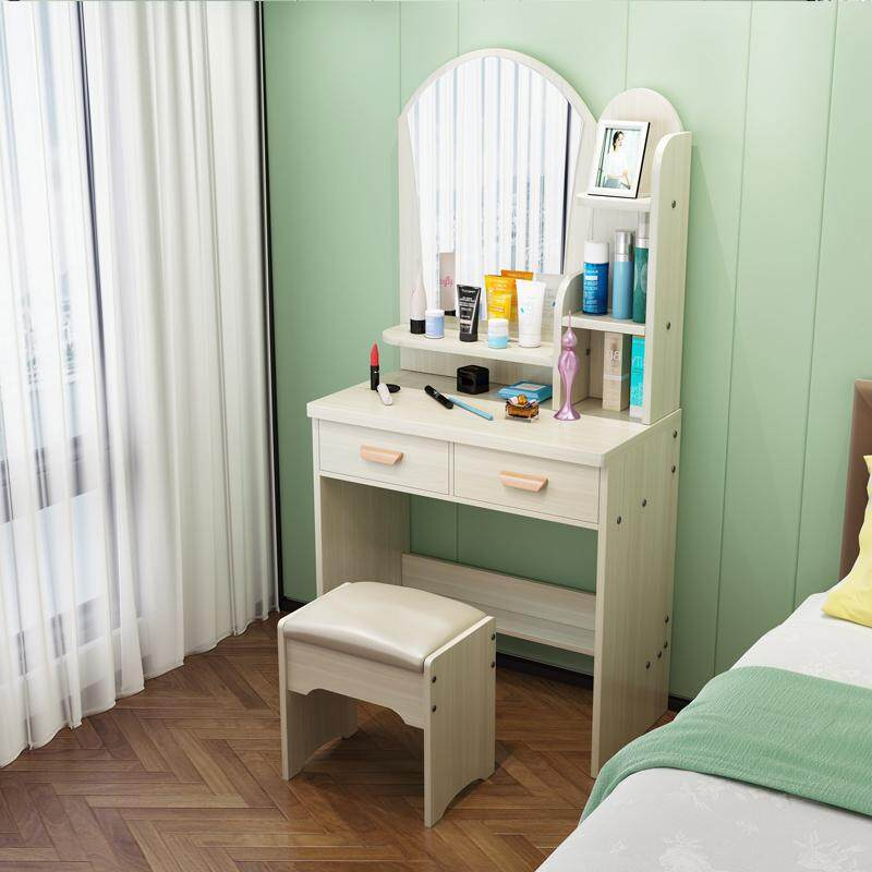 One-piece Dressing Table with Stool, HD Mirror, 2 Drawers, Solid Wood European Bedroom Dressing Table with Stool, Princess Makeup Cabinet Luxury flip Small Dressing, Korean Style