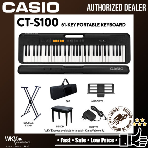 Casio CT-S100 61-Keys Casiotone Electric Keyboard Package with Bench, Stand and Bag (CTS100 / CT S100) Malaysia