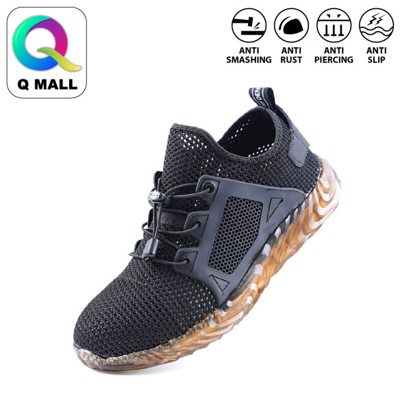 Q MALL Safety Shoes Sport Shoes Anti-Smashing Anti-Piercing non-slip wear-resistant construction site safety protection work shoes - 703B (BLACK)