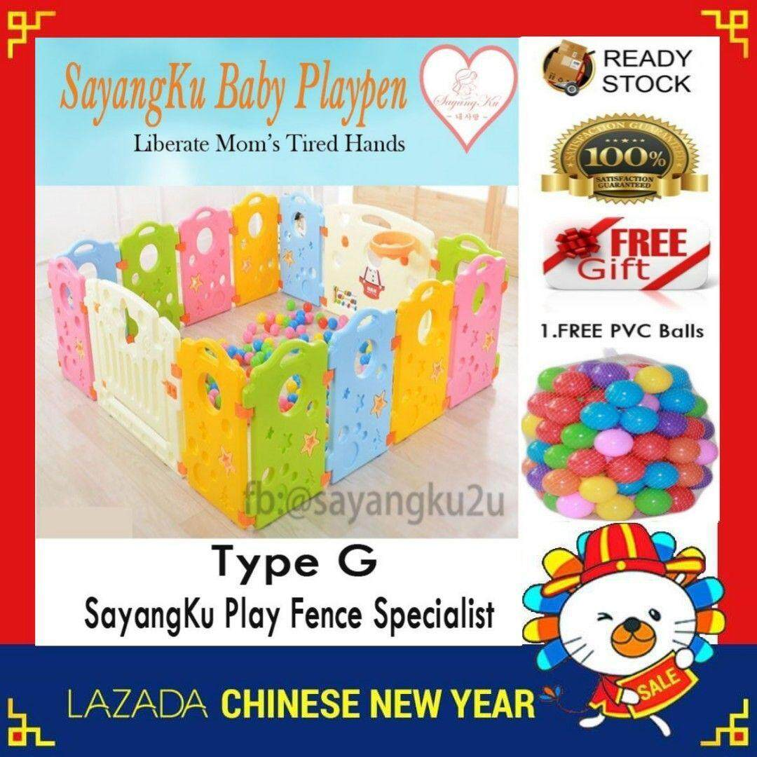 [10Panels] G(8+2) Clearance Sales {Free 50 Balls !!} SayangKu Type G Baby/Kid Safety Play Fence Playpen Home PlayYard