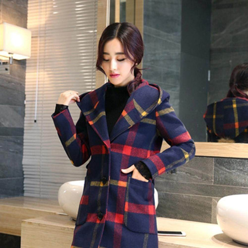 Women Hoodie Plaid Pattern Coat Bobble Decoration Warm Long Overcoat For Winter Autumn By Bagbigb Mall.