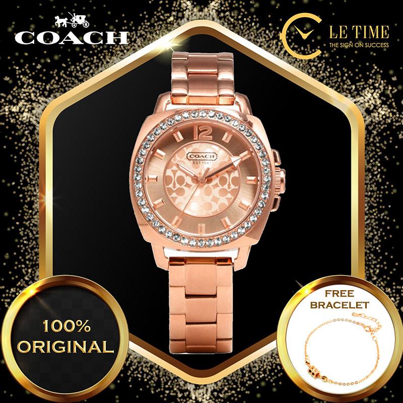 [Authentic *FREE BRACELET*] Coach Classic Boyfriend Stainless Steel Rose Gold-tone Ladies Watch Jam Tangan Wanita Perempuan 14501701 Malaysia