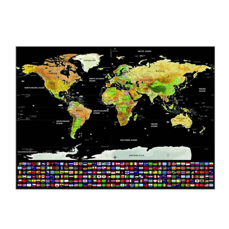 Scratch Off Map Of The World Travel Map Poster Easy Scratching Gold F With Country Flags Poster Home Decor Wall Stickers Lazada Singapore
