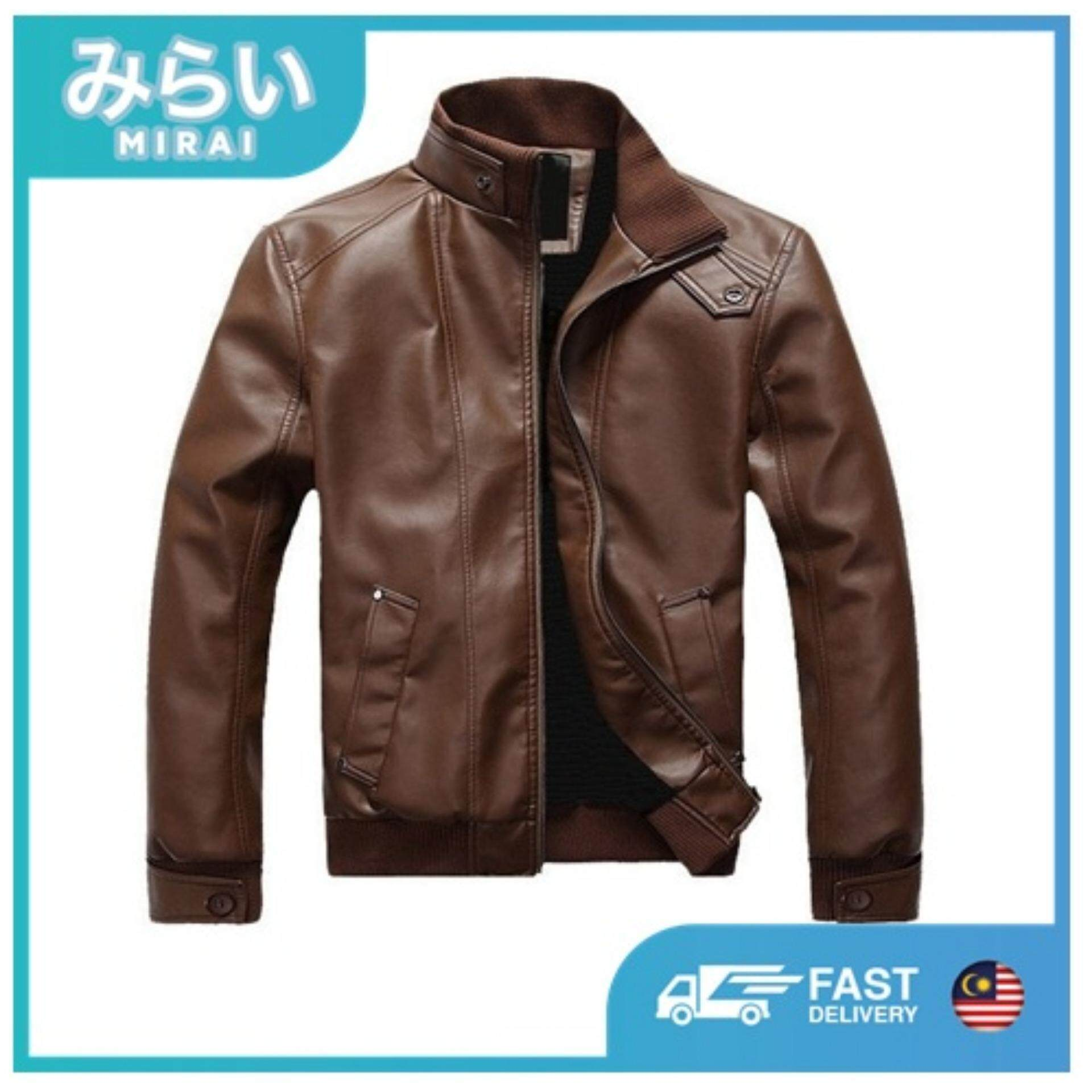386bc3c7fce MIRAI Men s PU Leather Jacket Outerwear Motorcycle Windbreaker Jaket kulit  berkolar