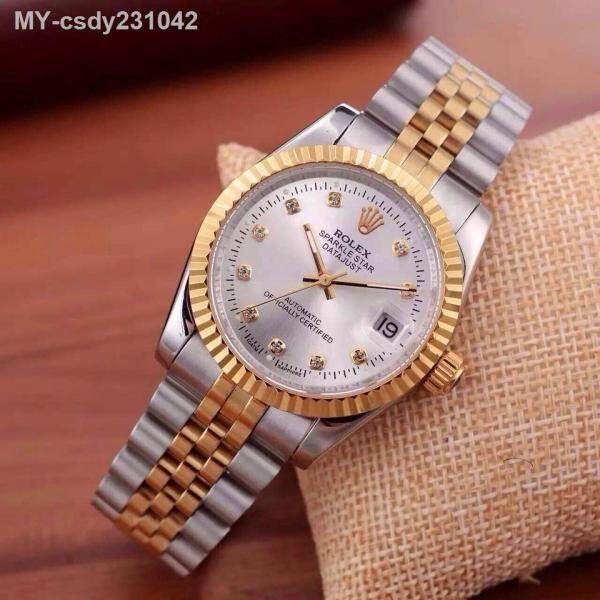 [*KAY*] Rolex Mens Watches Luxury Gold Roud Dial Steel Belt Quartz Watch Popular Business Calendar Watch Gift Malaysia