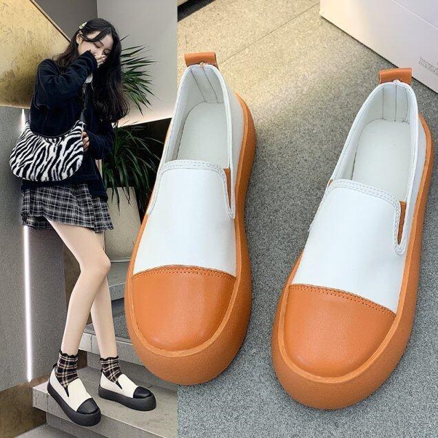 Giày Nữ Thời Trang Hàn Quốc Giày Lười Và Giày Đế Bằng Thường Ngày Không Thấm Nước Bằng Da PU 2021 Phong Cách Mới giá rẻ